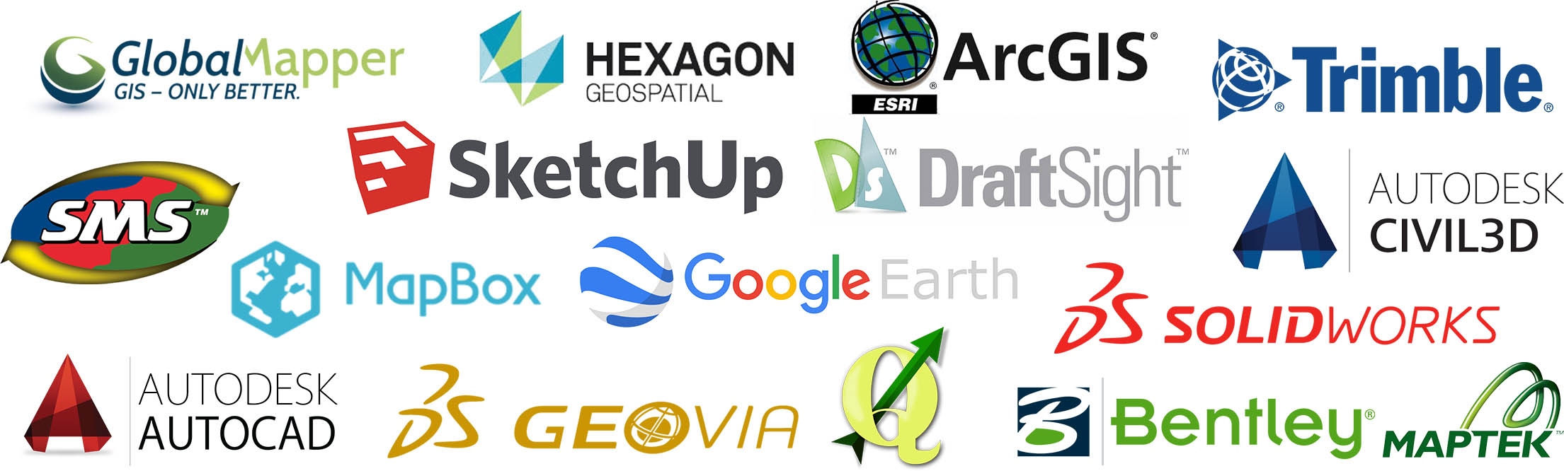Alpinax compatible software, google, autodesk, autocad, civil3d, sketchup, sketch up, maptek, arcgis, globalmapper, global mapper, trimble.